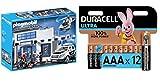 PLAYMOBIL Policía- Mega Set, única (9372) + Duracell - Ultra AAA con Powerchek, Pilas Alcalinas (Paquete de 12) 1.5 Voltios