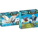 PLAYMOBIL DreamWorks Dragons Furia Diurna Y Bebé Dragón con Niños, A Partir De 4 Años (70038) + Astrid con Globoglob