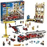 LEGO City - Fire Brigada Distrito Centro, Juguete Divertido y Creativo de Bomberos con Camión, Grúa, Edificio, Moto y Helicóptero (60216)